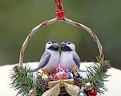 Christmas Chickadee Nest Handmade Ornament in Gift Box