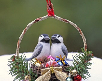 Christmas Chickadee Nest Handmade Ornament in Gift Box