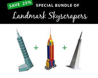 Landmark Skyscrapers, SAVE 25% with this value bundle || Taipei 101 || Empire State Building || San Francisco Pyramid