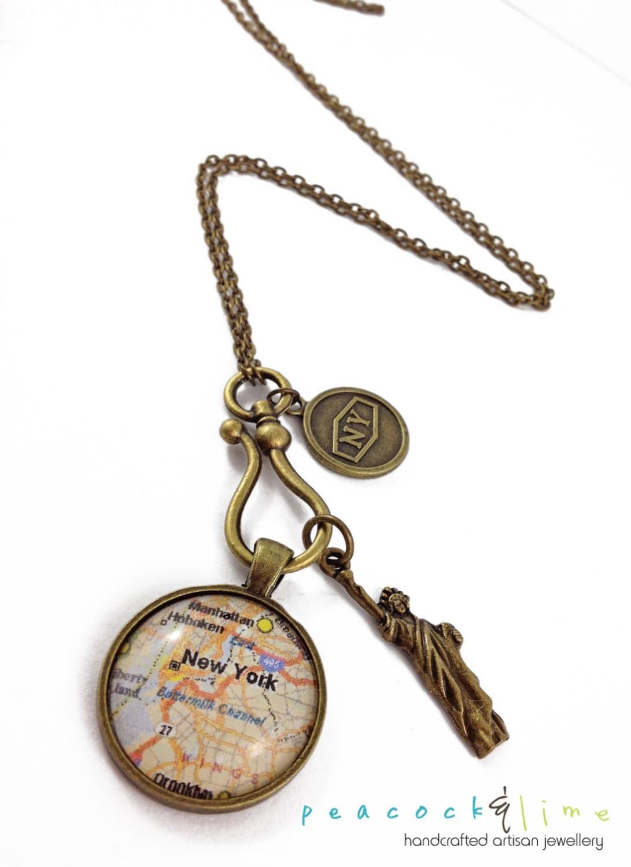 the new york city traveler map pendant necklace antique