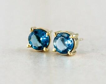 Blue Stud Earrings - London Blue Quartz - Gemstone Studs
