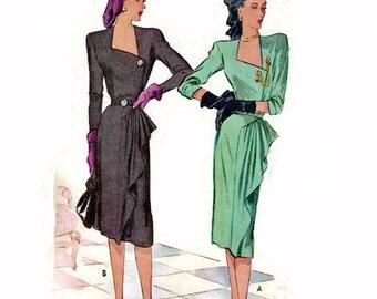 Vintage 1940s Pattern Asymmetrical Neckline Side Front Drape 1946 McCall 6714 Bust 32