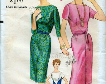 Vintage Pattern 1960s Sheath Diagonal Bodice Seams Colorblocking Easy to Make 1961 Vogue 5241 Bust 34 UNCUT