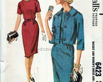 Vintage 1960s Pattern Dress and Jacket Collarless Sheath and Single Breasted Collared Jacket McCalls 6423 Bust 34 UNCUT