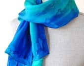 Silk Scarf Handpainted in Shades of Blue
