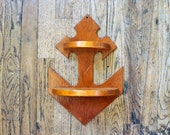 Vintage Wooden Anchor Wall Hanging Shelf