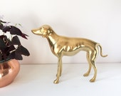 Brass Dog - Vintage Hollywood Regency Brass Animal Figurine - Greyhound / Medium Size