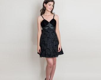 Vintage Sparkling Little Black Party Dress - 1980s Short Floral Burnout Velvet Formal Dress - XS