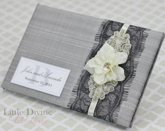 Vintage Inspired Silver Wedding Guest Book Black Lace Custom Made in your Colors