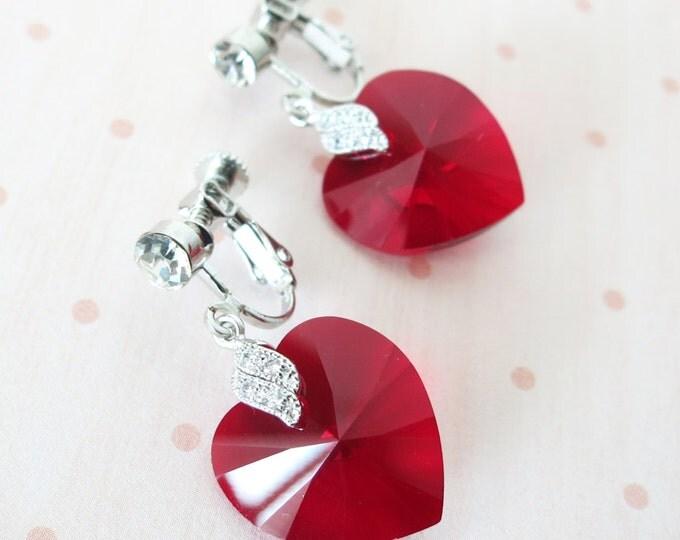 Clip On Earrings - Siam Red Swarovski Heart Crystal Non-pierced Earrings, bridal Cubic Zirconia, blue weddings, bridesmaid earrings