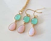 Mint Pink Jewelry,Spring Wedding Bridal Jewelry Set, Teardrop Earrings Necklace, Bridesmaid Gift,Thank You Gift Favor,Delicate Gold plated