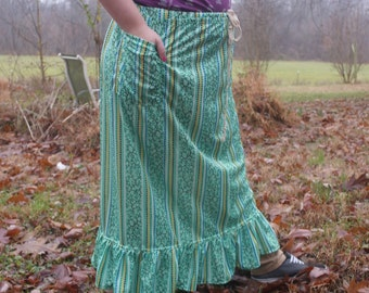 GreenTree Branch Striped Vintage 70s fabric Hippie Skirt, SLim Long skirt Prairie Gypsy Skirt  Ruffle and pockets  HANDMADE by KNOTTYMAMA