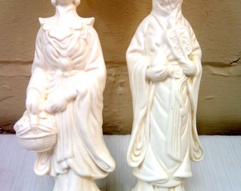 Mid Century Hollywood Regency Pair of Tall White Asian Statues by Ardco