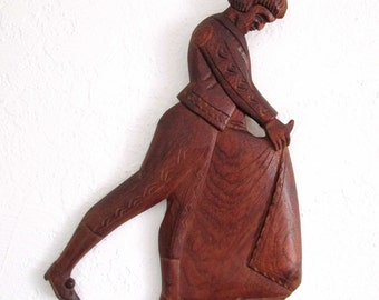 Mid Century Kitsch Bullfighter Carved Wood Vintage Wall Hanging