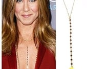 Gemstone Lariat Necklace As seen on Jennifer Aniston, Gemstone LONG Y Necklace, 14kt Gold Filled, Critics Choice- The ORIGINAL on Etsy