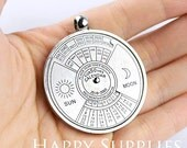 1pc 50 Year Perpetual Calendar Pendant, Silver, Really WORKS, Nautical, Vintage Jewelry Supplies (DT006)