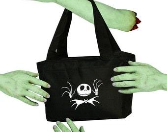 Voodoo Sugar Jack Skellington with Bat Tie NMBC Black Zippered Insulated  Cooler Tote Bag