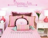 10x40 Princess (Personalized Name) Sleeps Here wall decal, Girl bedroom decal, Princess theme room, personalized vinyl lettering (W00402)