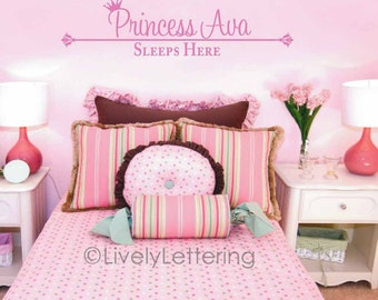 Princess decal, Personalized Name wall decal, Princess Sleeps Here, Girl bedroom wall quotes, Princess bedroom decor, vinyl lettering LL0402