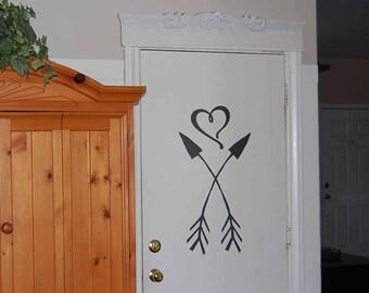 Crossed Arrows wall decal, Arrow Heart decal, modern wall decals, popular bedroom decor, living room decal, door vinyl lettering MV1800