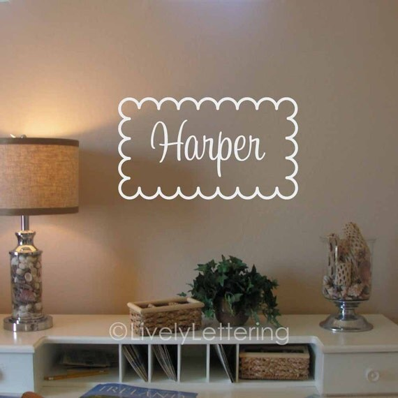 Cursive Name wall decal in scallop frame, nursery name decor, girl name bedroom decal, vinyl lettering (W00925)