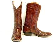 Vintage Lucchese Cowboy Boots // Cognac Leather Classic Snip Toe (11 1/2 AAA)