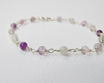 Rainbow Fluorite Bracelet - Sterling Silver Beaded Bracelet Rosary Bracelet Beadwork Bracelet