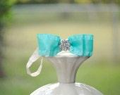 Baby Bow Headband. Aquamarine Blue. Elegant Newborn Baby, Big Day Spring Wedding Accessory, Statement Kid Toddler Hair, New Born Dedication