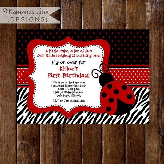 Red And Black Ladybug Invitation Zebra Print Invitation