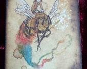 honey bee pixie fairy magic wand watercolor ACEO original art fantasy