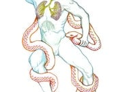 Laocoon's death moment (Greek mythology) with lungs anatomy watercolor drawing