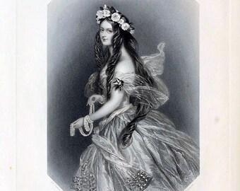 antique victorian portrait beautiful woman undine illustration digital download