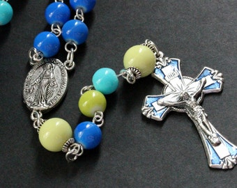 Colorful Ocean Rosary. Blue Rosary. Traditional Rosary. Handmade Rosary. Turquoise Rosary. Catholic Rosary. Green Rosary. Handmade Rosaries.