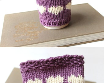 Organic Coffee Sleeve, Vegan Cup Cozy, Purple Coffee Cozy, Cotton Cup Sleeve, Gift For Her, Gift For Summer, Gift For Friend, Iced Coffee