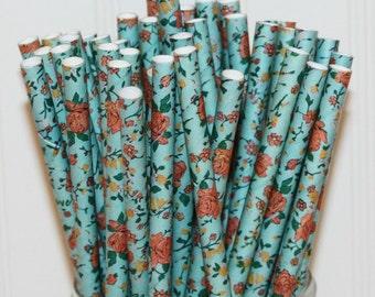 Paper Straws, 25 Blue Floral Paper Straws, Paper Drinking Straws, Tea Party Straws, Flower Paper Straws, Garden Party Vintage Wedding Straws