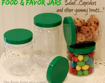 "Plastic Mason Jars,12 Plastic Mason Jars with ""SEAL TIGHT"" Stay FRESH Jar Lids, Mason Food Jar, Candy Jar, Cupcake Jars, Party Favor Jars"