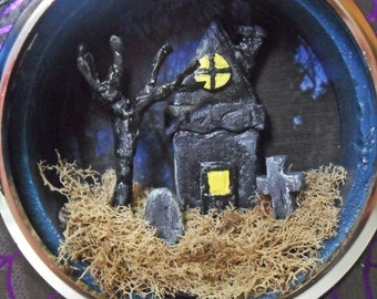 Haunted House Miniature Diorama - Clock Case Shadow Box - Gothic Miniature Art - Gothic Decor