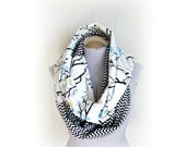 Black and White Chevron and Bird on Branches Mash-up Infinity Flannel Scarf