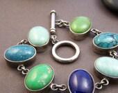Estate Sterling Multi-Stone Bracelet - Gemstone Sterling Silver Link Bracelet