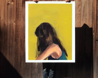 Portrait in Yellow .  extra large wall art . giclee print