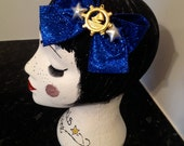 Sparkly Blue Bow hair clip with anchor and silver stars hair accessory