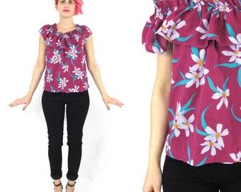 80s Tropical Print Tank Top Fuschia Pink Floral Ruffle Blouse Summer Resort Magenta Hibiscus Print Ruffle Collar Sleeveless Shirt (S/M)