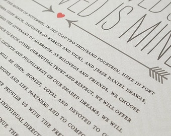 Ketubah Giclée Print by Jennifer Raichman - Double Arrows & Hearts