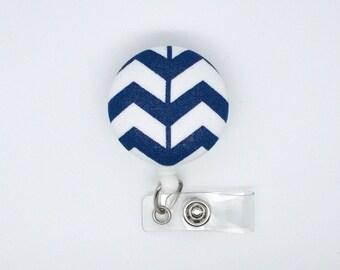 Navy Chevron Braid - Cute ID Badge Reel - Nurse Badge Holder - Nursing Badge Reel - RN Badge Clip - Teacher Badge - Male Nurse - Nurse Gift