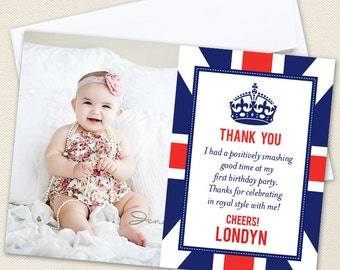 Union Jack Photo Thank You Cards - Professionally printed *or* DIY printable