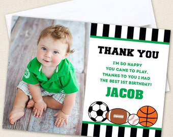 All-Star Sports Photo Thank You Cards - Professionally printed *or* DIY printable - Choose green, blue or red