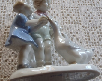 Vintage Figurine Porcelain Boy and Girl Feeding Geese Crown GDR