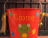 Personalized Easter 5qt pail with Frog, polka dots, ribbons, and Easter eggs