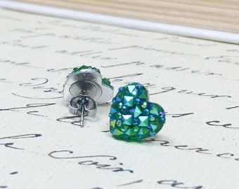 Teal Green Crystal Earrings, Heart Crystal Earrings, Druzy Hearts, Faux Druzy Cabochons on stainless steel, bright metallic iridescent green