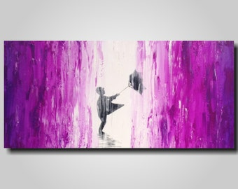 Original Large Abstract painting - 18 X 36 Inches-by Artist JMJartstudio-Taken away -Wall art-wall decor - Oil painting-Purple and white